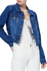 Paige Vivienne Relax Fit Crop Blue Denim Jacket In Adelaide Size M Nwt 229+