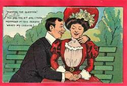 Postcard Popping The Question Couple Sitting On A Benchlot 4807