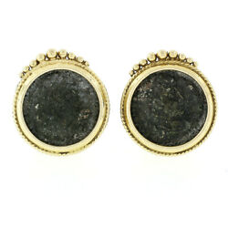 Vintage 18k Yellow Gold 18.3mm Bezel Set Round Ancient Coin Omega Back Earrings