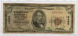 1929 5 Ty1 The Washington Square Nb Of New York Ch 13360 Only 5 Known Rare