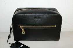 NWT DKNY SUTTON LEATHER COSMETIC POUCH BAG CLUTCH BLACK PURSE $39.99