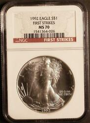1992 1 1 Oz. Mint State American Silver Eagle Ngc Ms 70 First Strikes Pop 66
