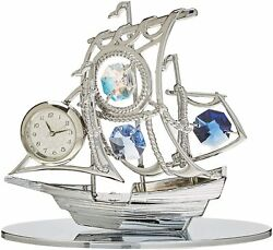 Chrome Plated Silver Sailboat Tabletop Ornament With Clock
