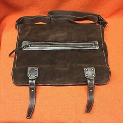 Claudia Firenze Brown Suede Leather Messenger Large Bag $65.00