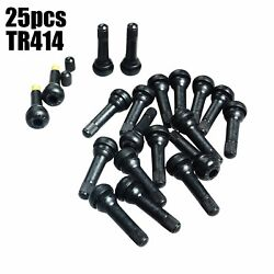 25pc Tr414 Snap-in Tire Valve Stems Fits All Cars Motorcycles Wheels Quad / Atv