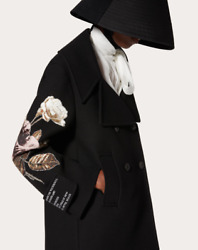 Nwt Valentino Black Embroidered Patch/poem Pea Coat/jacket 36/us 0 5500