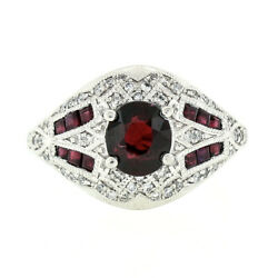 Estate Platinum 1.89ctw Gia No Heat Ruby And Diamond Wide Detailed Cocktail Ring