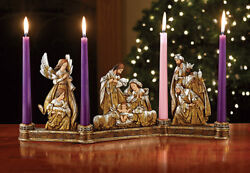 Advent Wreath Metallic Gold and Silver Carved Wood Look $64.99