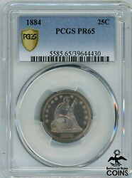 1884 United States Seated Liberty Quarter 25c Silver .900 Coin Pcgs Pr65 Kma98