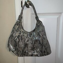New Directions Purse Brown Faux snake skin Print Iridescent Shiny Bag Euc $14.99