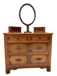 Antique 4 Drawer Dresser With Mirror And Jewelry Boxes