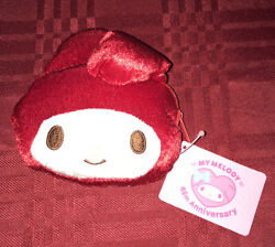 My Melody 45th Anniversary Plush Coin Purse Id Holder W/retractable Keychain Red
