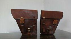 Motorcycle Saddle 1 Pair Side Bags Pouch Brown Leather 2 Panniers Handmade Produ