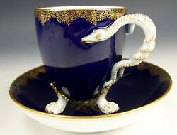 Rare 1st Quality Meissen Hand Painted Cherubs Snake Handle Tea Cup And Saucer