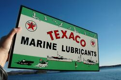 Old Style Rare Texaco Marine Gas And Oilthick Steel Sign Usa Made Mint