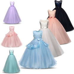 Flower Kids Baby Girl Princess Tulle Porm Formal Dress Long Lace Wedding Gown