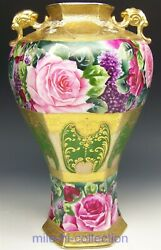 Nippon Roses Lilacs Raised Gold Hexagon Fishes Handles 13.5 Maple Leaf Vase