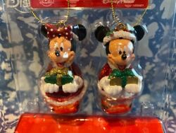 New Disney Parks Mickey And Minnie Mouse Jingle Bell Christmas Ornaments Set