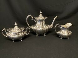 Reed And Barton 3 Piece Set Sterling Silver Coffee And Tea Service Hampton Court