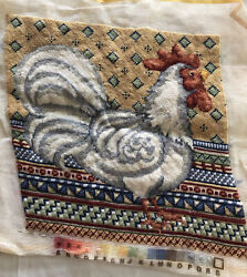 Excellent Completed Wool Needlepoint Standing Chicken for Frame or Pillow