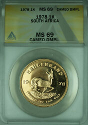 1978 South Africa 1 Krugerrand 1 Oz Gold Coin Anacs Ms-69 Cameo Dmpl