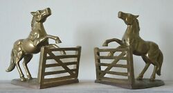 Vintage Brass Bookends Pair Rearing Horse At Fence Figurine Sculpture 7 Tall