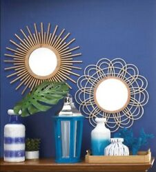Round Mirrors For Wall Decor Bathroom Hanging Accent Wood Bedroom Living Room