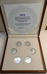 Greece 6 X 6 Euro Prominent Greek Economist Silver Proof In Own Case And C.o.a.