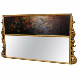 Rare Horizontal Mantle Mantel Oil Painting Gilded French Trumeau Trumeaux Mirror