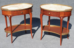 Gorgeous Pair French Louis Xv Marble Top Mahogany End Tables Night Stands C1920s