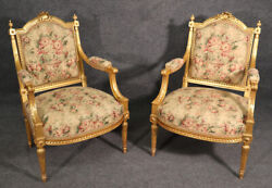 Best Pair Finely Carved Gilded French Louis Xvi Fauteuils Open Arm Chairs C1900