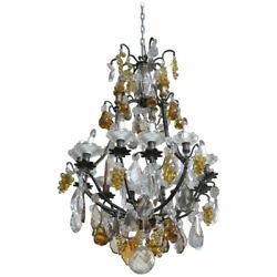 Rare Louis Xv Bronze Chandelier W Amber Fruits And Clear And Amber Crystal Prisms