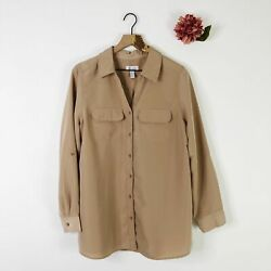 Denim And Co Women's Utility Tunic Top Button Front Roll Tab Sleeve Mocha L 41