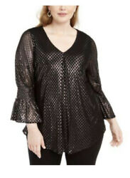 Alfani Womens Black Gold Evening Blouse Plus 4x Bell Sleeve Party $18.99