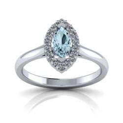 Blue Topaz And Diamond Halo Ring Marquise Cut 9ct Gold Uk Made And Hallmarked