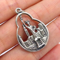 925 Sterling Silver Vintage Statue Of Liberty Nyc City Skyline Pendant