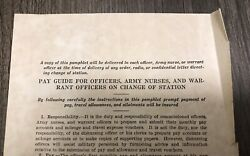 Gc Marshall Pay Guide For Officers Army Nurse Warrant Officers Document Wwii Ww2