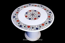 36 Marble Table Top Semi Precious Stone Floral Handmade Inlay With Marble Stand