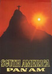 Pan Am Airways Airlines South America Brazil Vintage 1969 Travel Poster 28x42