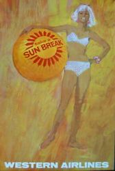 Western Airlines Take A Sun Break Vintage 1963 Travel Poster 25x40 Nm Very Rare
