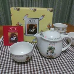 The Macmillan Alice In Wonderland Tea Set Teapot 5 Cups Collection Japan Used