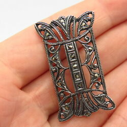 835 Silver Antique Art-deco Portugal Real Marcasite Gem Pin Brooch