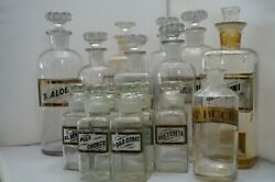 Huge Lot Of 15x Antique French Apothecary Jars, Glass W/ Labels, Small And Large