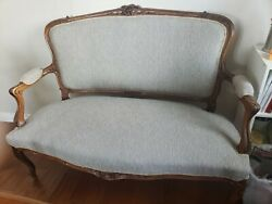 Swedish Antique Furniture- Love Seat 2 Arm Chairs And A Table Reupholstered