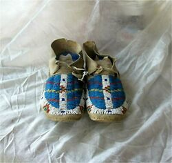 1900and039s Sioux Indian Native American Beaded Moccasins Beads Hide Antique