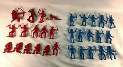 Vintage Red And Blue Figures Indians Mpc Toys