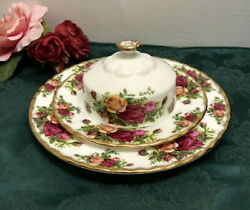 Rare 3 Pcs Royal Albert Old Country Roses England Bread And Butter Dish Plate Set