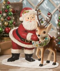 Bethany Lowe Santa With Reindeer Large New For 2020 Td9025