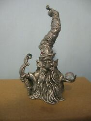 Gallo Pewter Wizard Head With Tall Hat 3 1/4 Inches
