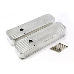 Chevy Sbc 350 Silver Anodized Fabricated Valve Covers - Tall W/ Hole